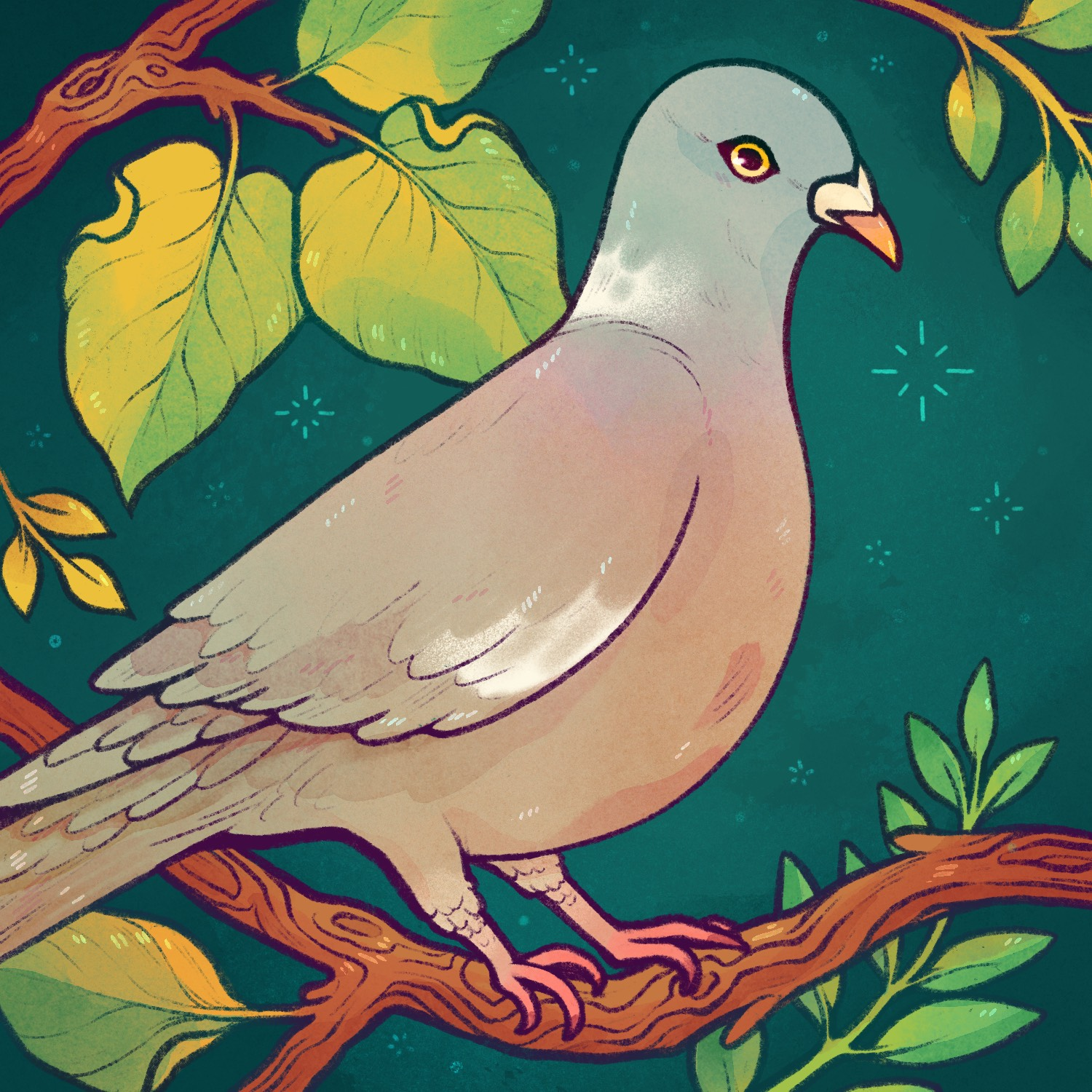 a cartoon pigeon sitting in a tree surrounded by leaves. Drawn by Lianne Pflug.